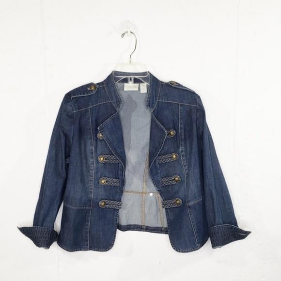 Chico's Jackets & Blazers - Chico's Petite Braid-Detail Denim Military Jacket